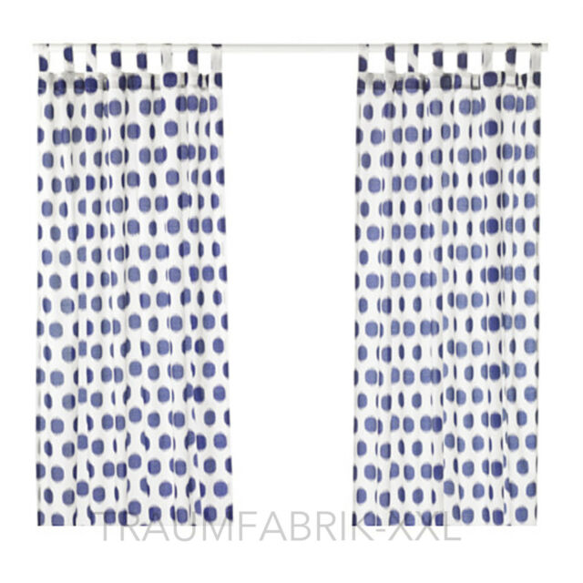 ikea sommar 2017 curtain pair 145x300 cm white blue ebay. Black Bedroom Furniture Sets. Home Design Ideas
