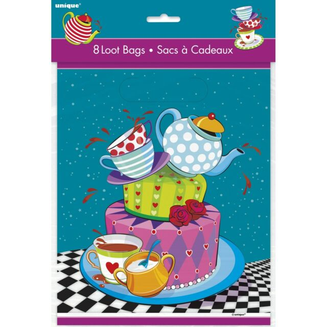 MAD HATTER FAVOURS 8 LOLLY LOOT TREAT BAGS ALICE IN WONDERLAND HIGH TEA PARTY