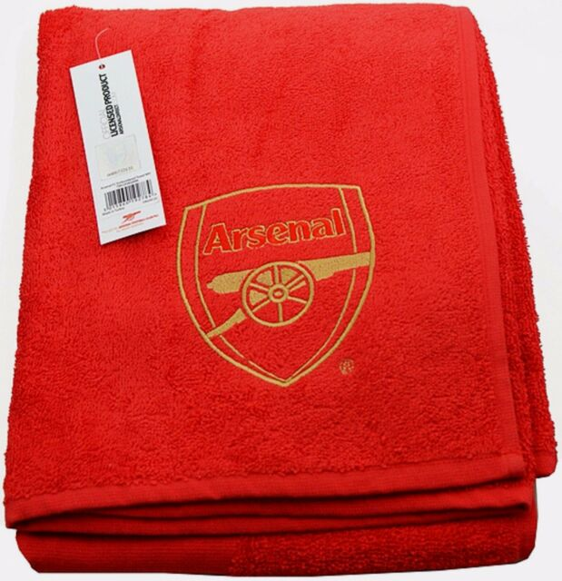 ARSENAL FC LARGE EMBROIDERED RED BEACH BATH SWIM GYM TOWEL 100% COTTON AFC