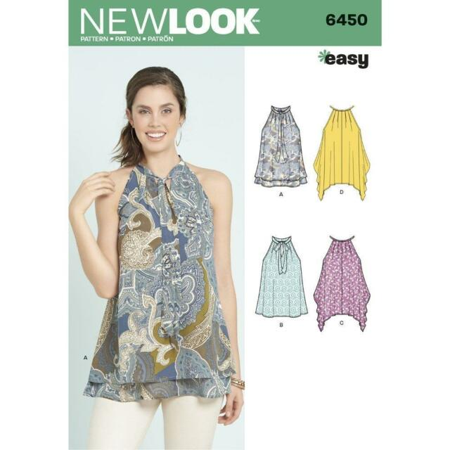 LOOK Sewing Pattern Miss Womens Easy Tops Optional Neck Tie Sz 6-18 ...