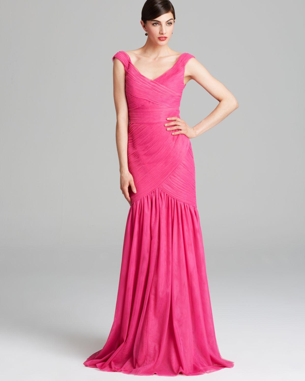 Ml Monique Lhuillier 1270 Womens Pink Mesh Prom Evening Dress Gown 6 ...