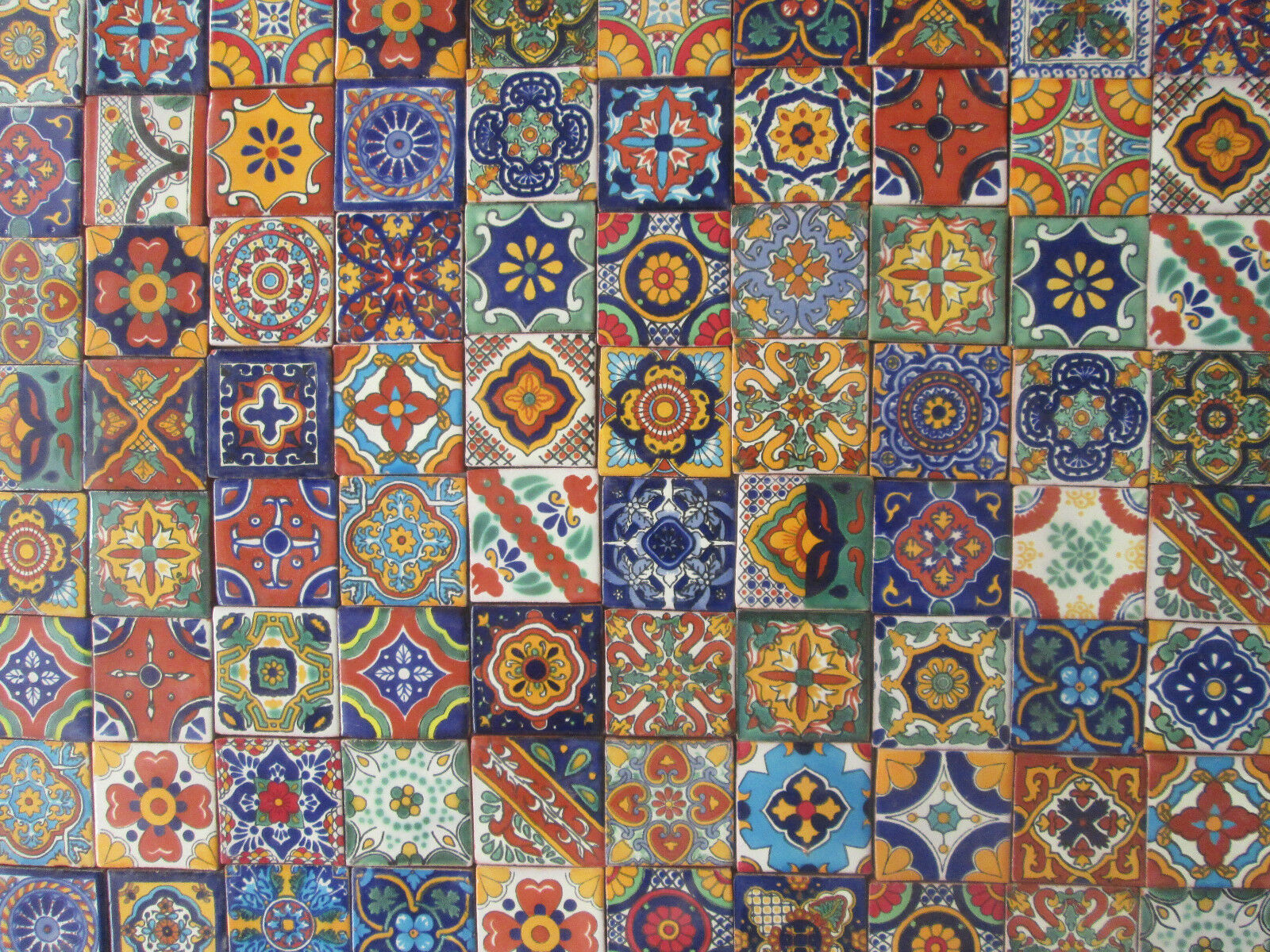 Mexican tile ebay 100 mixed designs mexican tile handmade talavera backsplash mosaic 2 x 2 dailygadgetfo Image collections