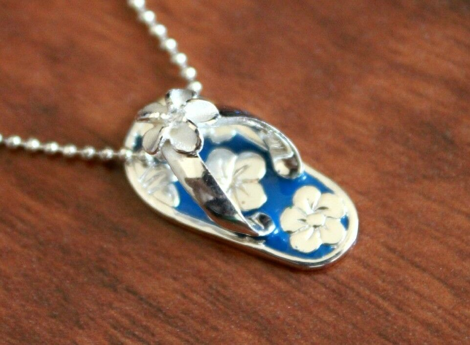 Hawaiian jewelry sterling silver plumeria flower slipper pendant picture 1 of 3 aloadofball Image collections