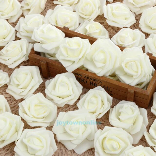 50pcs White Foam Rose Artificial Flowers Wedding Bridal Bouquet Home ...
