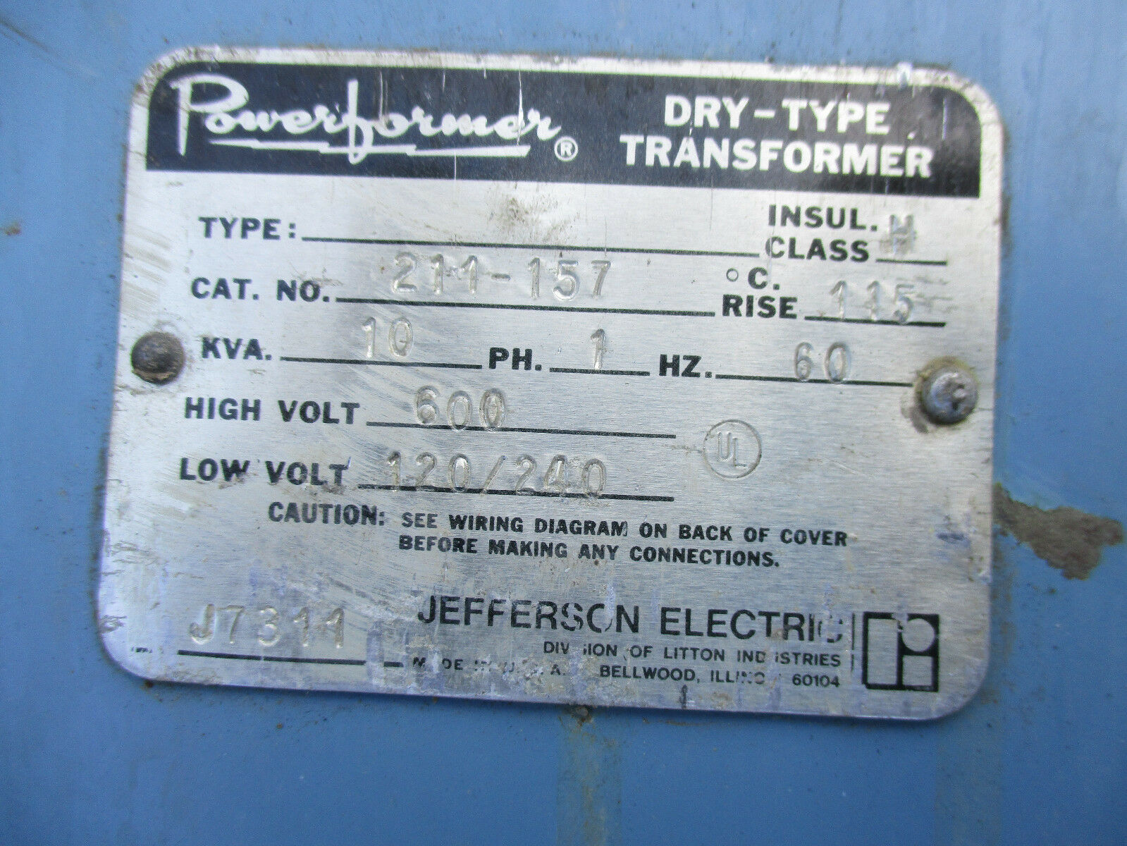 Jefferson 10 KVA 1 Phase 600x120/240 Volt Encapsulated Transformer ...