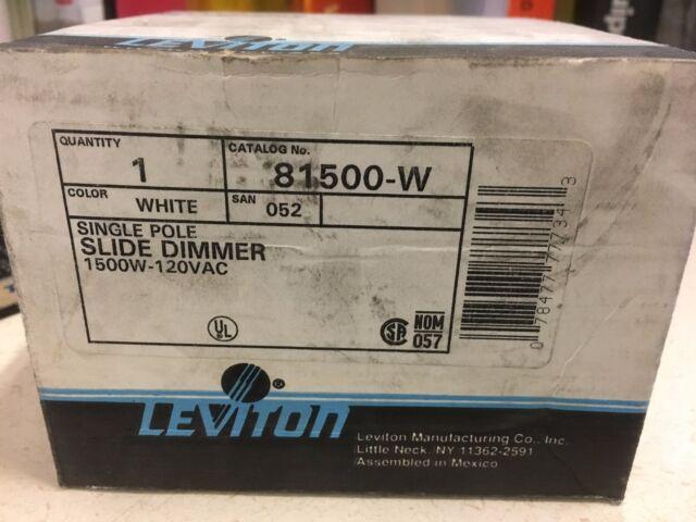 Leviton 81500-w White Renoir Single Pole Slide Dimmer 1500w ...