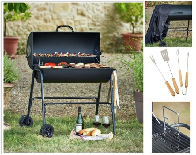 Garden BBQ Grill Charcoal Barbecue Smoker U0026 Cover Portable Outdoor Cooking  Patio