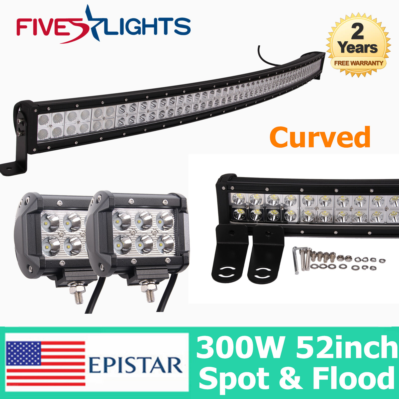 53 300w epistar led light bar curved driving combo offroad 4wd jeep picture 1 of 11 aloadofball Image collections