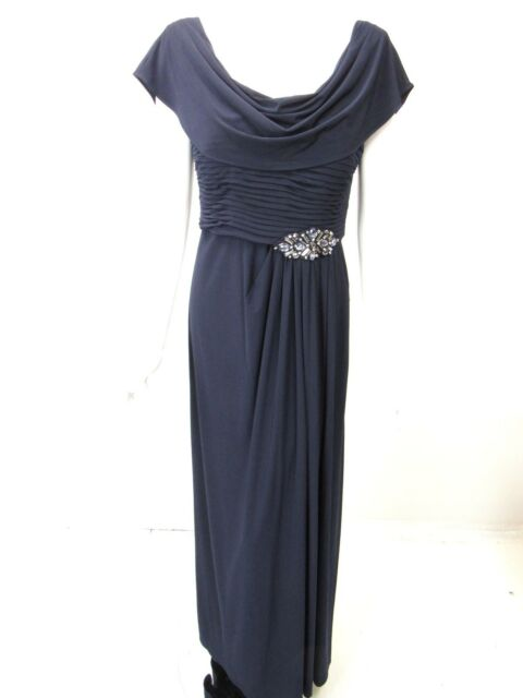 Patra Navy Blue Womens Size 10 Flutter Pleated Empire Waist Gown Ebay