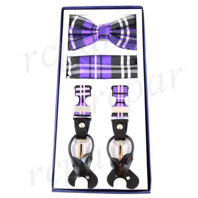 dd67636bcd1a Men's Suspender Braces Bowtie Hankie Set Elastic Strap Plaid Purple ...