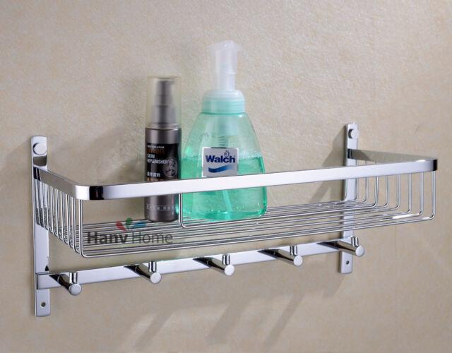 Bathroom Stainless Steel Shower Shelf Caddy Basket Storage With Robe ...