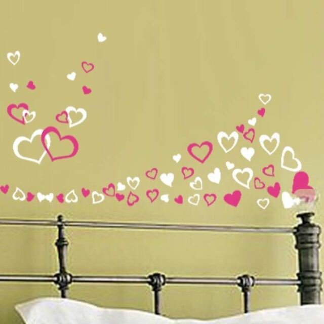 up to 90 Various Hearts Bedroom Living Room Wall Art Window Stickers ...