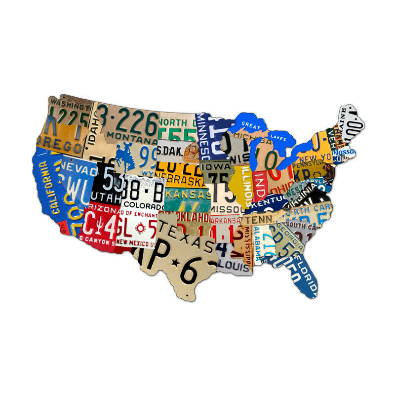 Vintage License Plate USA Map Of The United States Steel Metal - Us map with license plates