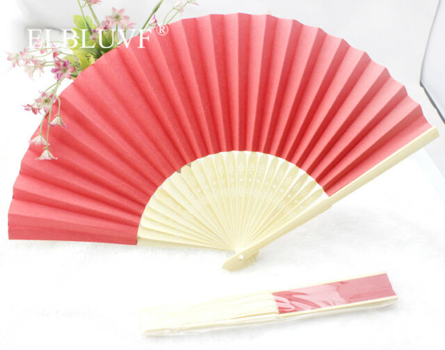 10 X Summer Ladies Hollow Outdoor Folding Colorful Paper Hand Fans