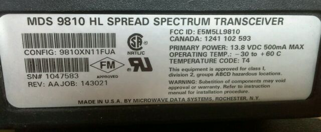Microwave Data Systems Mds 9810 Spread Spectrum Transceiver T63563 Ebay
