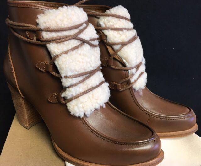 UGG Women's Analise Exposed Fur Leather Stacked Heel Booties Chestnut  1013676