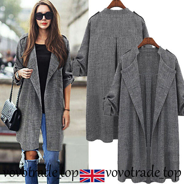 UK Womens Ladies Waterfall Cardigan Coat Long Sleeve Jacket ...