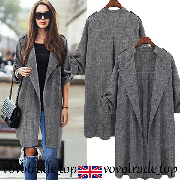 UK Womens Ladies Waterfall Cardigan Coat Long Sleeve Jacket ...