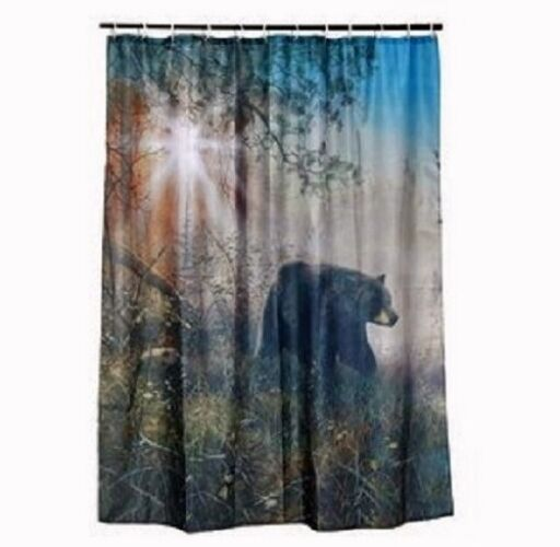 Black Bear Shower Curtain Set Cabin Hunting Outdoor Bathroom Decor ...