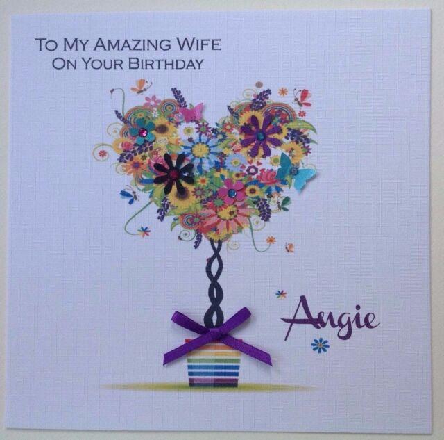 Personalised Handmade Birthday Card Mum Friend Wife Sister Gran