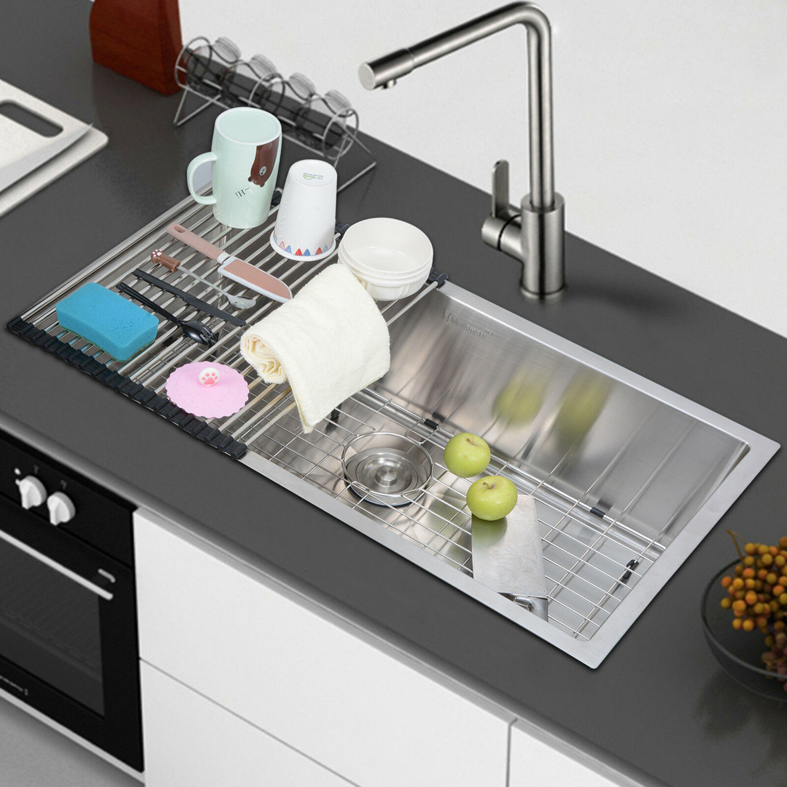 picture 1 of 8     voilamart 33  x18   304 stainless steel kitchen sink 16 gauge      rh   ebay com