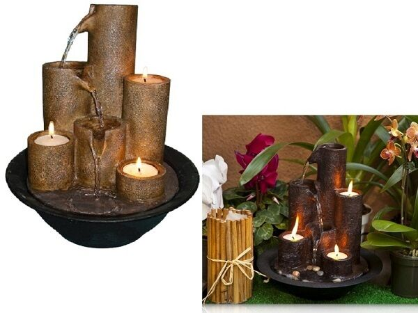 Indoor Tabletop Water Fountain Waterfall 3 Candles Rocks