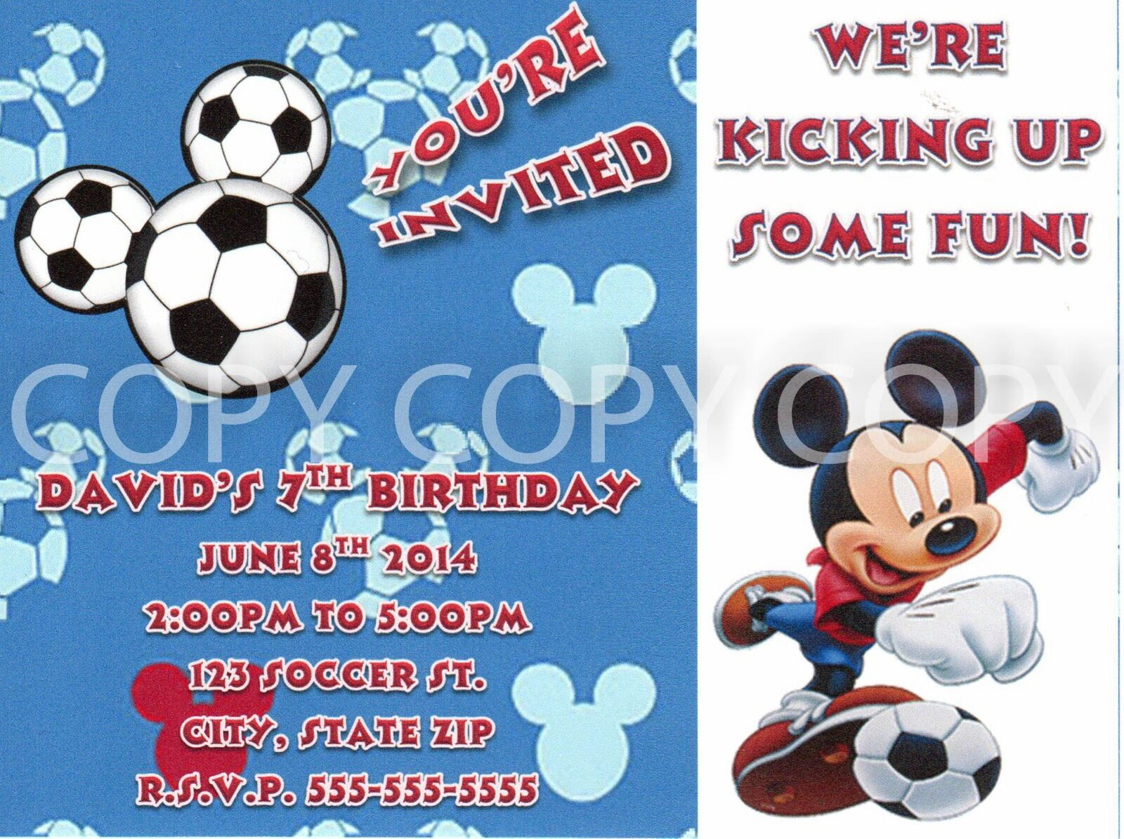 Disney Mickey Mouse Birthday Soccer Party Invitations Personalized ...