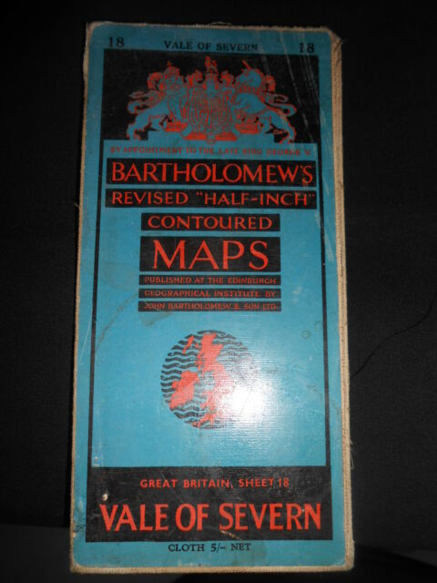 Vintage Bartholomew's Half Inch Map of The Vale of Severn - 1953 - Sheet 18