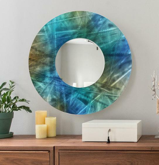 Large Round Painted Blue Metal Wall Mirror Home Decor Art Accent by ...