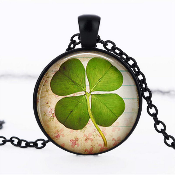Four leaf clover black glass cabochon necklace chain pendant picture 1 of 3 aloadofball Choice Image