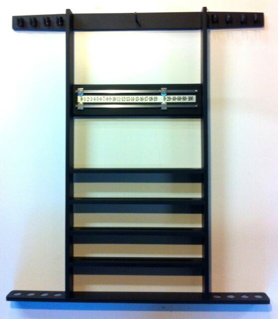 BLACK POOL TABLE CUE RACK, Holds 8 Cues, Balls, Triangle, Snooker Scoreboard