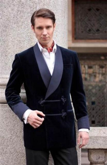 Men's Bilberry Smoking Velvet Jacket Stylish Blue Shawl Blazer ...