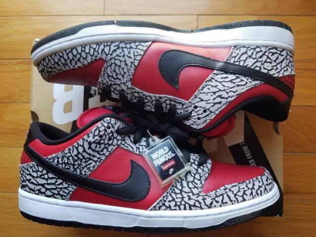 Nike Dunk Low Premium SB SUPREME Fire Red Black Cement Grey size 9.5