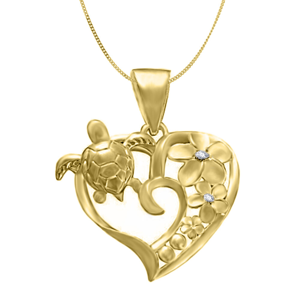 Silver 925 hawaiian cz plumeria flower sea turtle honu heart pendant picture 1 of 1 aloadofball Images