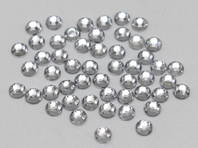2000 Clear Acrylic Round Faceted Flatback Rhinestone Gems Bead 4mm SS16 Nail Art