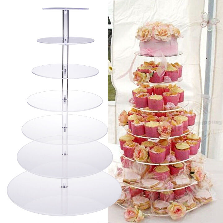 7 Tier Crystal Acrylic Round Cupcake Stand Wedding Birthday Display Cake Tower