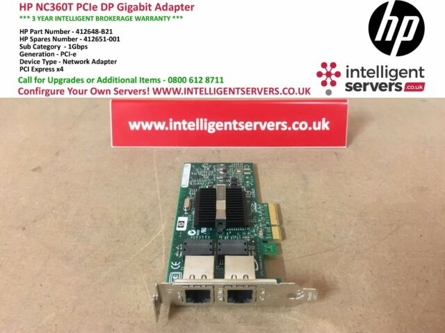 HP NC360T PCI Express Dual Port Gigabit Server Adapter *Low Profile* 412648-B21