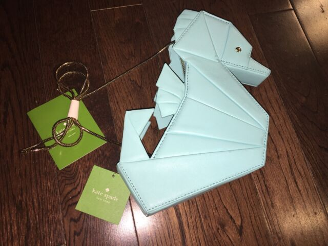 Kate Spade Breath Of Fresh Air Origami Blue Leather Seahorse