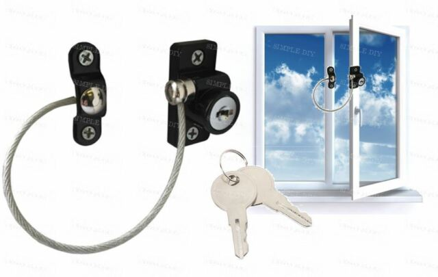Child Safety Window Lock Key Cable Window Restrictor Child Proof Security Wire  sc 1 st  eBay & Black Restrictor Safety Locking Window Door Lock UPVC Child ... pezcame.com