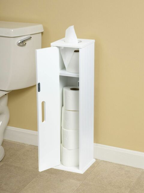 White Wood Standing Toilet Paper Roll Holder Bathroom Storage Cabinet Ebay