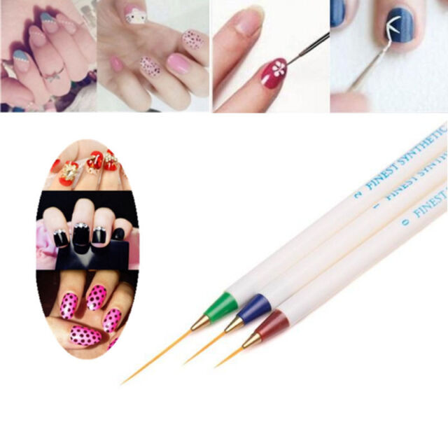 3pcs Beauty Nail Art Design Set Dotting Painting Drawing Polish