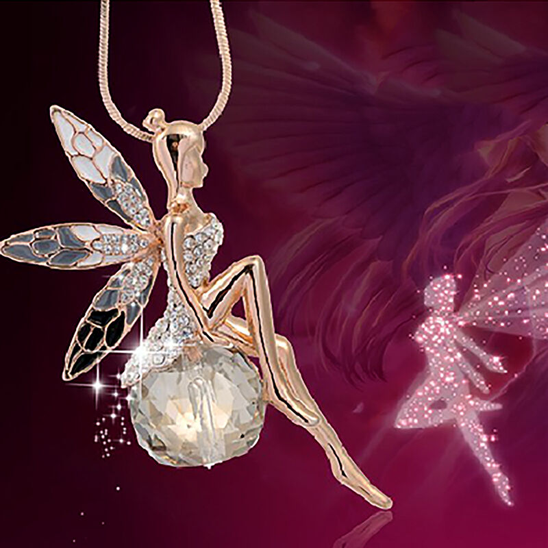 Angel wing crystal ballet dancer fairy pendant chain necklace women picture 1 of 9 aloadofball Images