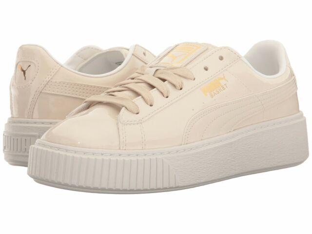 puma basket patent leather sneakers beige