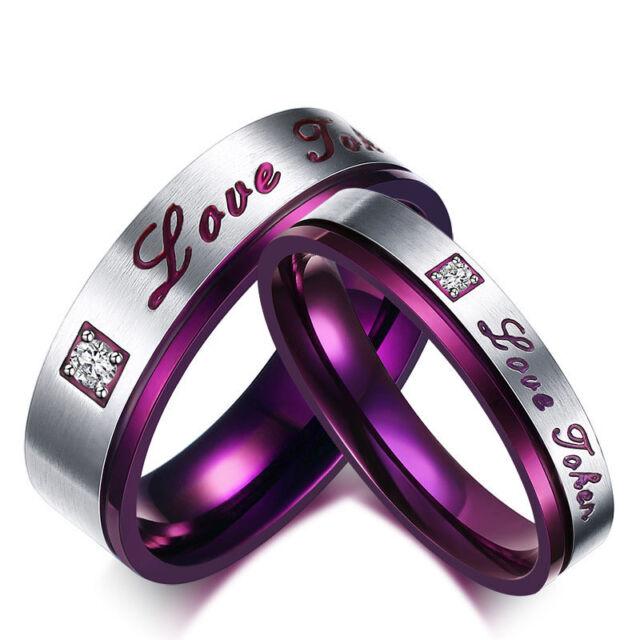 Stainless Steel Rings Purple Wedding Band Ring Love Token Valentine Gift