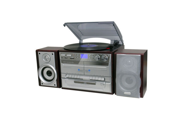 Home Entertainment System Stereo Hi Fi HiFi Turntable Cassette cd mp3 USB brown