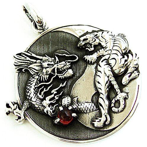 Yin yang dragon versus tiger sterling 925 silver japanese martial yin yang dragon versus tiger sterling 925 silver japanese martial art pendant ebay mozeypictures Images