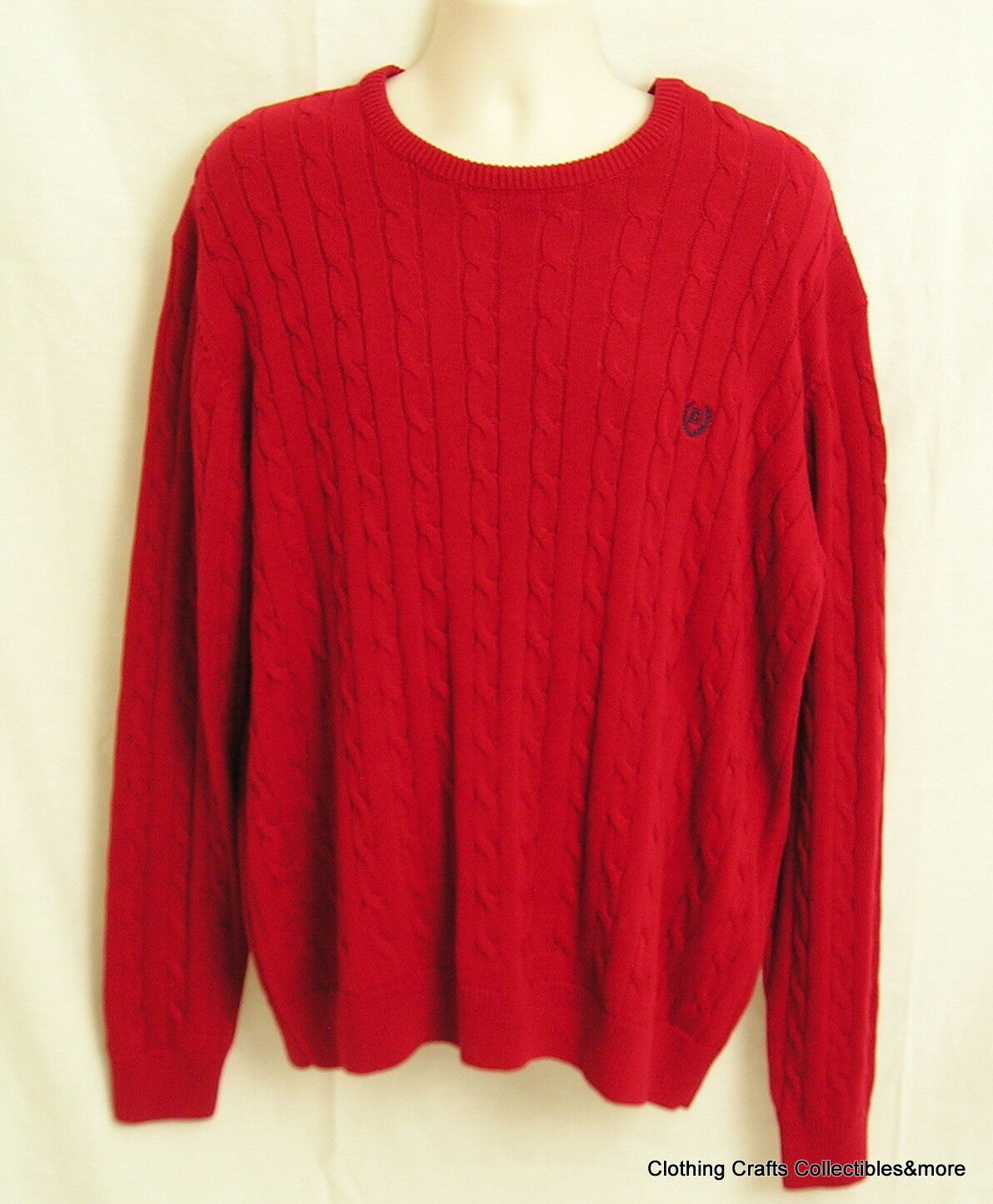 Mens Chaps Red Christmas Sweater Sz 2xl XXL Cable Knit Crew Neck | eBay