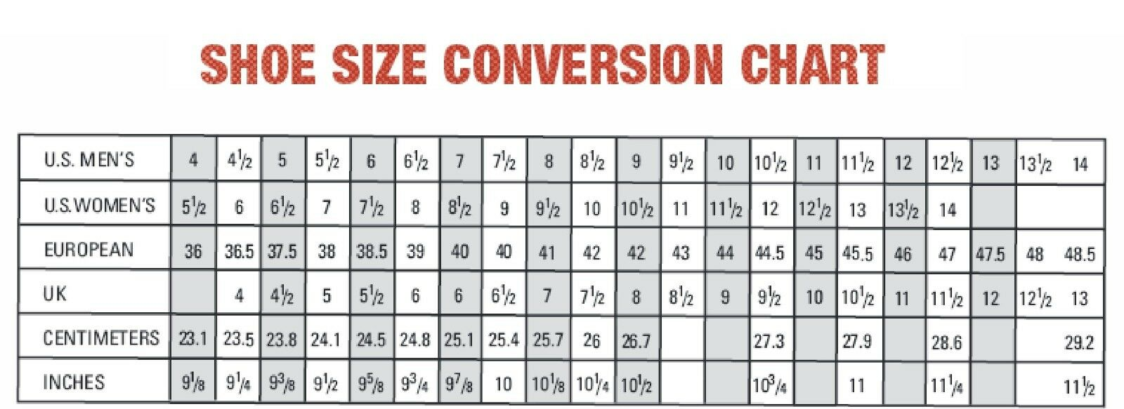 Foot size conversion chart gallery free any chart examples european hat size conversion chart images free any chart examples womens and mens shoe size conversion nvjuhfo Images