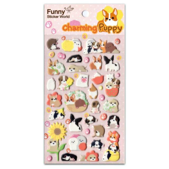 Cute charming puppy stickers dog puffy raised vinyl sticker sheet craft kawaii
