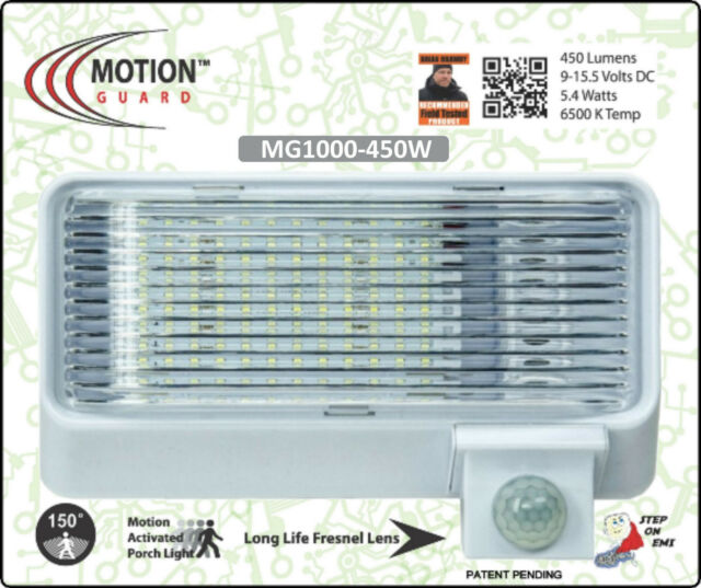 Mg1000 450 12 volt camper or rv motion light white daynight sensor rv boat motion activated security light mg1000 450w audiocablefo